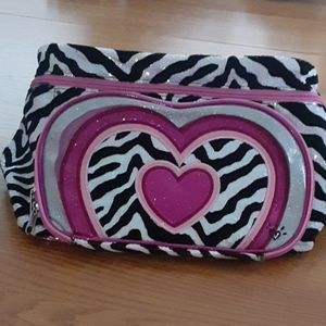 Justice zebra and heart print carrying case